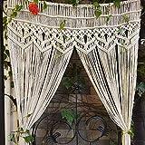YUEKUN - Cortina de pared macramé de algodón tejida a mano para puerta de estilo bohemio, cortina de ventana para interior y exterior, fondo de boda, 90 x 180 cm