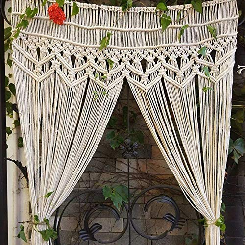 YUEKUN Makramee Wandbehang Tapisserie Baumwolle gewebt handgewebte böhmische Tür hängend Vorhänge Fenstervorhang für Indoor Outdoor Hochzeit Hintergrund 90 x 180 cm