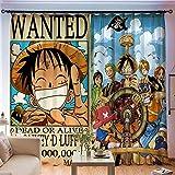 Cortinas Opacas De Ojal, Anime One Piece Theme 3D Cortinas Impresas Digitales Cortinas De Tela De Poliéster con Aislamiento Térmico 140X160Cm