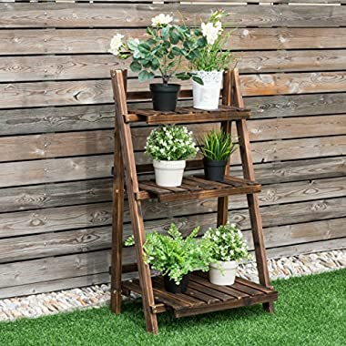 Giantex 3 Tier Folding Wood Flower Pot Shelf Stand Wooden Display Rack Indoor Outdoor Garden, 24  x 15  x 37
