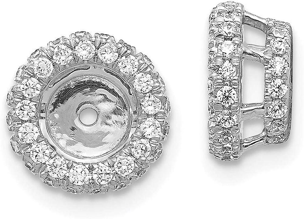 14K White Gold Diamond Round Earring Jackets 5.00 mm Opening for Stud Earrings (0.647Cttw)