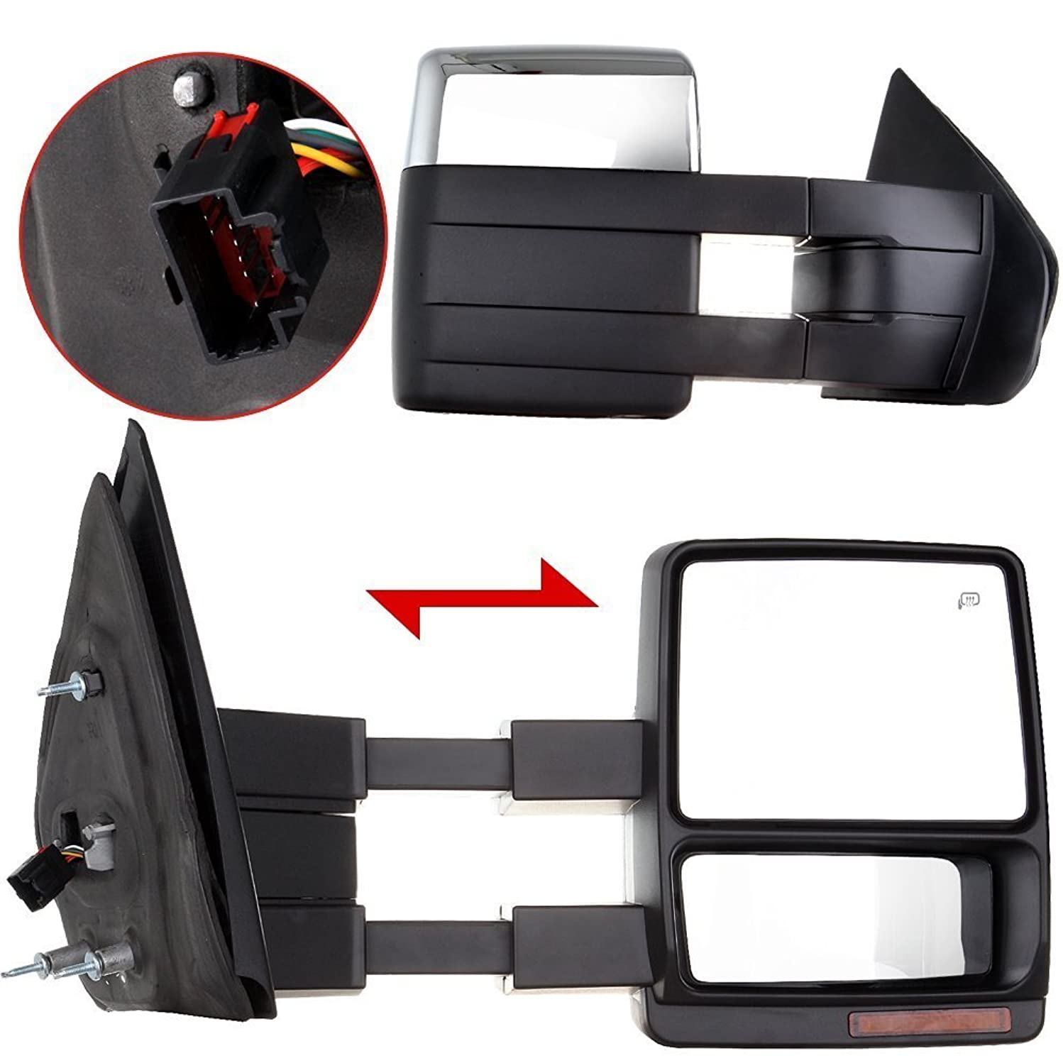 Scitoo Fit 2004-14 Ford F150 Truck Left/Right Chrome Cover Side Mirror Power Heated Led Signal Puddle Light Towing Mirrors Pair