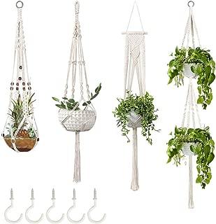 GROWNEER 4 Packs Macrame Plant Hangers with 5 Hooks, Different Tiers, Handmade Cotton Rope...
