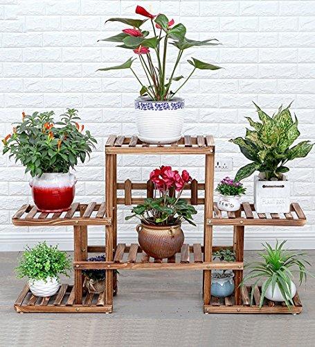ZENGAI Pot De Fleurs Pin Naturel Multicouche Espace De Rangement Super Charge Portant Bonsaï Assemblage Sol Présentoir De Plantes (Couleur : Blanc, taille : 124x73cm)
