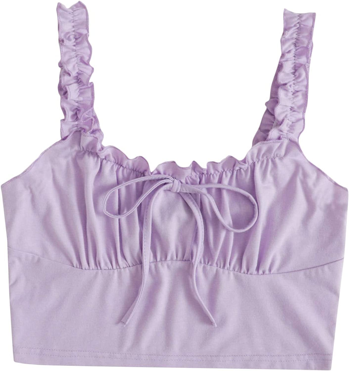 Floerns Women's Plus Size Drawstring Frill Trim Ruched Bust Crop Cami Top