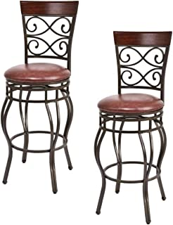 COSTWAY Bar Stools Set of 2, 360 Degree Swivel, 30