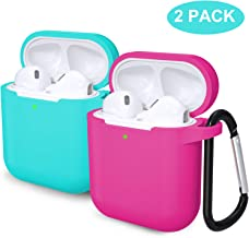 Laffav AirPods 2 & 1 Case for Women Men (Front LED Visible) Soft Silicone Protective Cover Skin with Keychain kit Set Compatible with Apple AirPods 2 and 1, 2 Pack, Teal, Rose Pink
