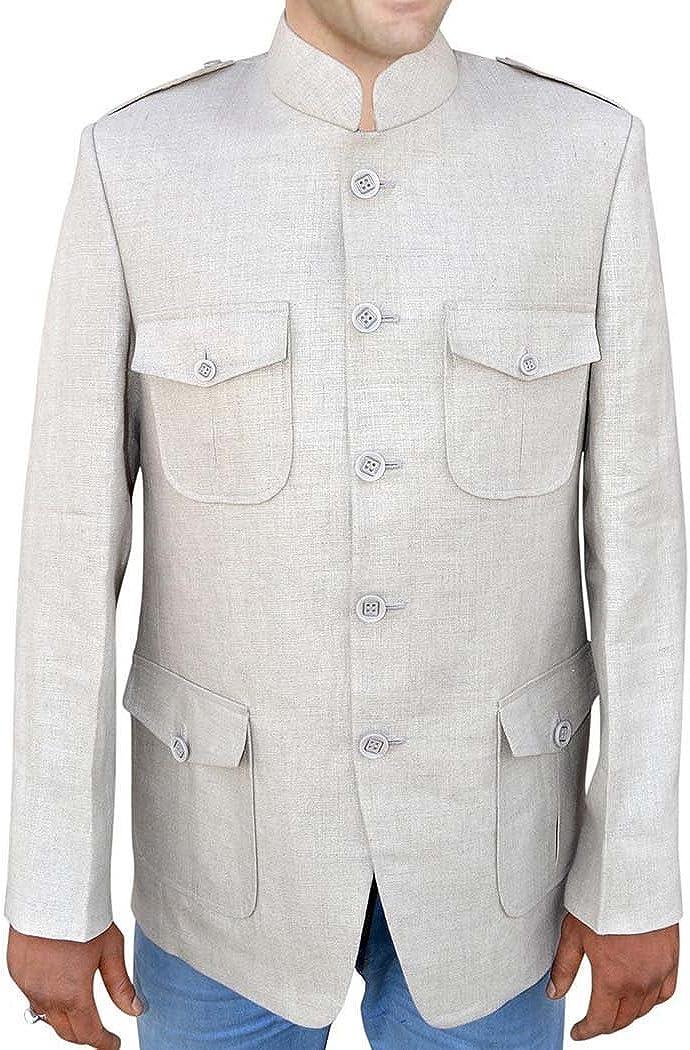 INMONARCH Mens Natural Color Linen Nehru Jacket Safari Style NJ131