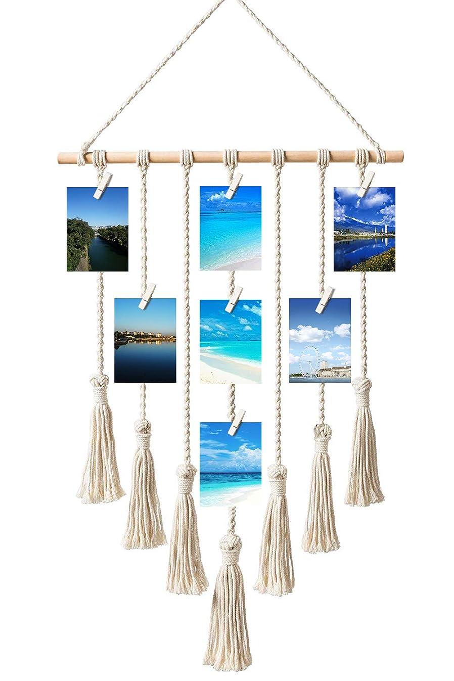 Toniya Hanging Photo Display Pictures Organizer Macrame Wall Bohemian Home Decor,with 30 Wood Clips