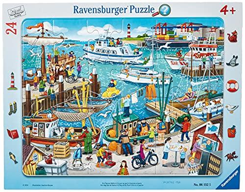 Ravensburger Kinderpuzzle - 06152 Ein Tag am Hafen - Rahmenpuzzle für Kinder ab 4 Jahren, mit 24 Teilen