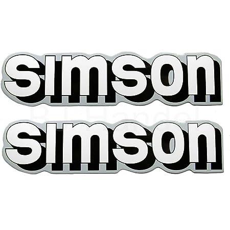 2x Aufkleber Schriftzug Simson Weiß Silber S51 Tank Bj Handel Auto