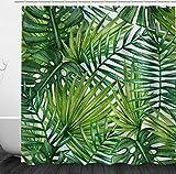 ENCOFT Duschvorhang 180x180 Textil Schimmelresistenter Wasserabweisender Stoff-Duschvorhang Shower Curtain (180 x 180 cm, Grün)