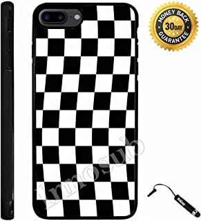 Custom iPhone 7 PLUS Case (Checkered Flag Finish Line) Edge-to-Edge Rubber Black Cover with Shock and Scratch Protection   Lightweight, Ultra-Slim   Includes Stylus Pen by Innosub