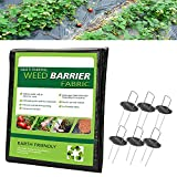Garden Weed Barrier Landscape Fabric, 6.6X16.5 FT Weed Barrier Control Fabric Ground Cover Membrane Garden Landscape Driveway Weed Block Gardening Mat, Ideal for Garden, Flower Beds, Pathways