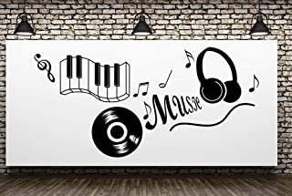 Fymural Music Note Wall Decals - Music Quotes Wall Art Removable Vinyl Keyboard Wall Decor Sticker Poster for Livingroom Kid Baby Nursery DIY Decoration Home Decor 43.3x21.7
