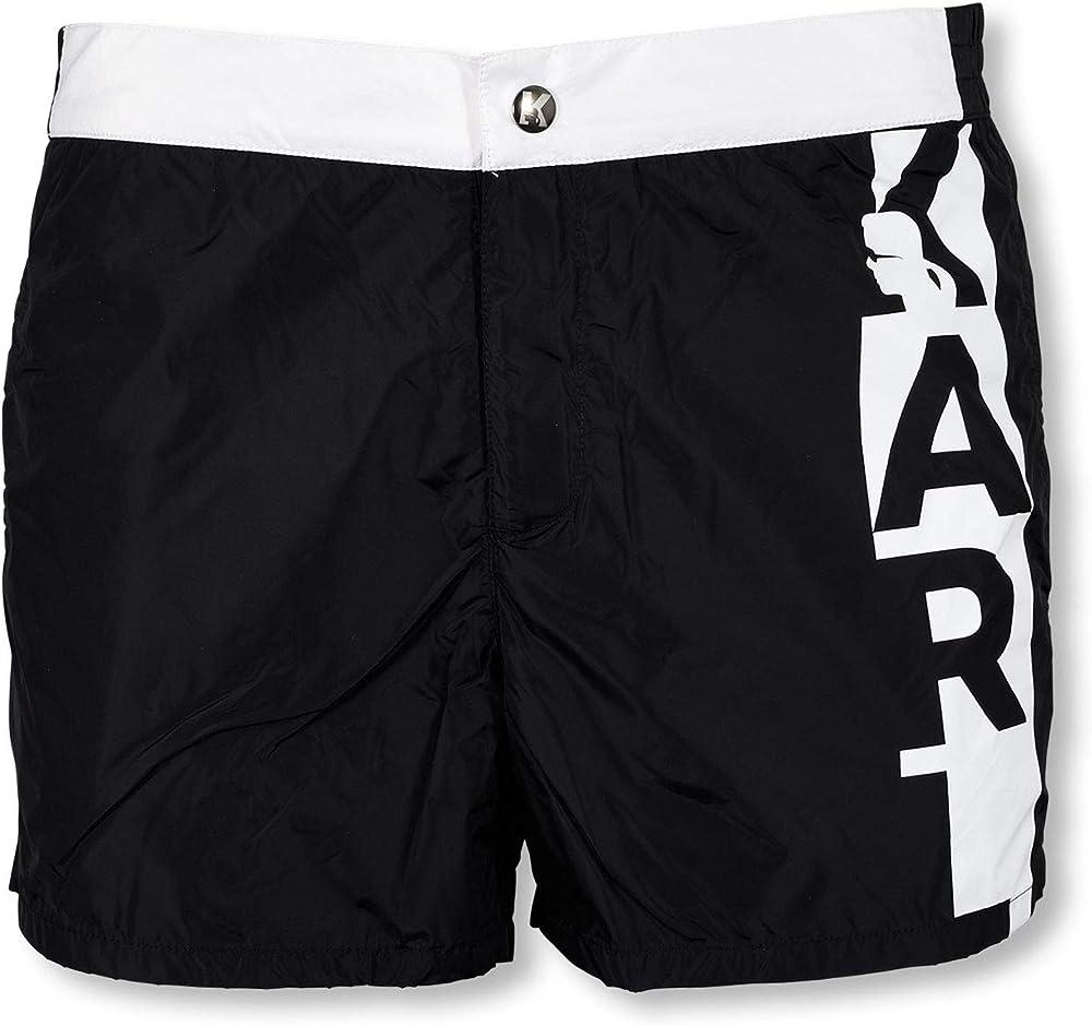 Karl lagerfeld, costume a pantaloncini da uomo con logo verticale,100% poliestere KL19MBS02-BLUE-XXL