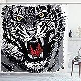 ABAKUHAUS Schwarz-Weiss Duschvorhang, Afrikanischer Tiger brüllt, mit 12 Ringe Set Wasserdicht Stielvoll Modern Farbfest & Schimmel Resistent, 175x240 cm, Weiß Schwarz Grau