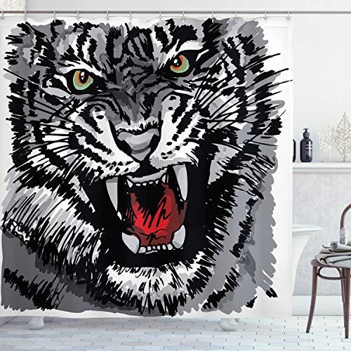 ABAKUHAUS Schwarz-Weiss Duschvorhang, Afrikanischer Tiger brüllt, mit 12 Ringe Set Wasserdicht Stielvoll Modern Farbfest & Schimmel Resistent, 175x200 cm, Weiß Schwarz Grau