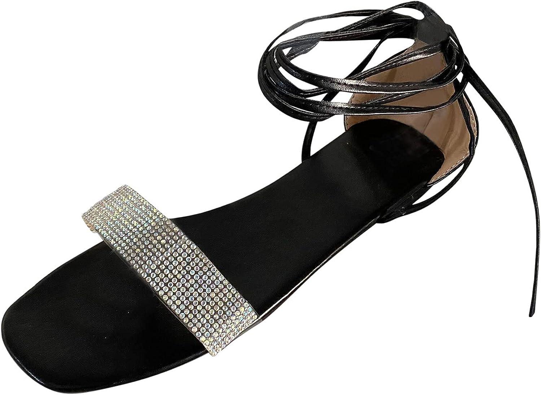 Xiangdanful Women's Flat Seasonal Wrap Introduction Sandals Rhinestone Strap Max 48% OFF Ankle Slippers