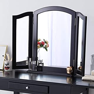 Chende Large Tri-fold Vanity Mirror with Detachable Base, 3 Ways Hollywood Makeup Mirror for Vanity Table Set, Black Wood Table Countertop or Wall Mounted (32.67