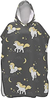 ATONO Cute Unicorns Stars and Moon Beach Bath Hooded Towels Quick-Drying Cloak Bathrobe Super Water-Absorbing Polyester for Adults Beach Swimming Bathroom Vacation Supplies