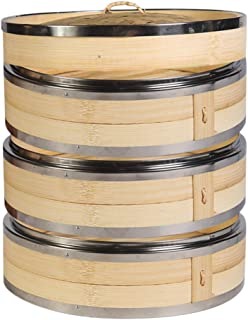 Hcooker 3 Tier Kitchen Bamboo Steamer with Double Stainless Steel Banding for Asian Cooking Buns Dumplings Vegetables Fish Rice