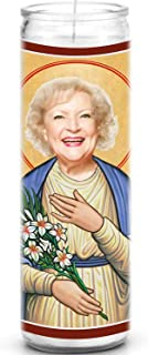 Betty White Celebrity Prayer Candle - Funny Saint Candle - 8 inch Glass Prayer Votive - 100% Handmade in USA - Novelty Celebrity Gift