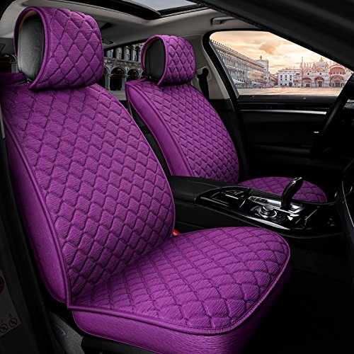 INCH EMPIRE Anti Slip Car Seat Cover Full Set Breathable Sweat Proof Fabric Polyester Cloth Universal Fit Front and Back Cushion-Adjustable Bench (Purple with Stich Grid)