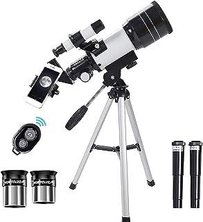 Telescopio astronómico, aumento HD 300/70 mm con trípode ajustable, telescopio refractor de 300 mm para niños principiante...