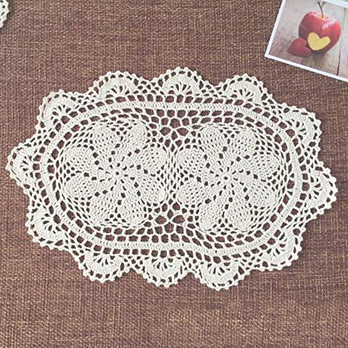 anruo Conjunto de 2 Piezas 26 * 42 cm Multi Round Handmade Crochet Doily/placemat Set/placemat Posavasos/Shabby Chic/manteles Individuales/tapetes Crochet
