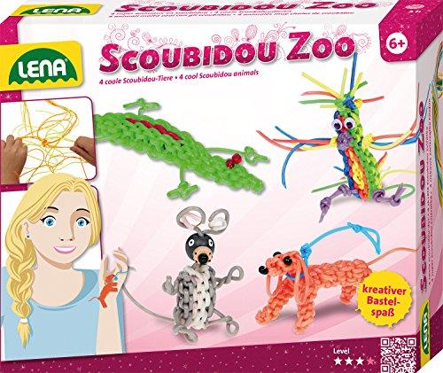 Lena 42360 - Bastelset Scoubidou Zoo, Komplettset zum Flechten von witzigen Tieren mit 26 runden Scoubidoubänder, Fädelperlen, Draht, Kulleraugen und Anleitung, Knüpfset für Kinder ab 6 Jahre