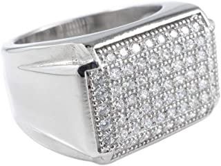18K IP Gold Stainless Steel Simulated Diamond Band Micropave Mens Pinky Ring
