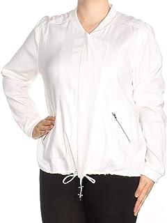 NYDJ Womens White Zip Up Jacket AU Size:22