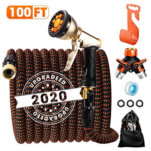 Delxo 2020 Upgrade100FT Expandable Garden Hose Water Hose with 9-Function High-Pressure Spray...