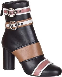 LANVIN Women's Black Nappa Leather Colorblock Ankle Boots Shoes