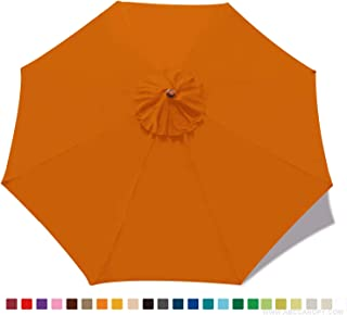 ABCCANOPY 9ft Outdoor Umbrella Replacement Top Patio Umbrella Market Umbrella Replacement Canopy with 8 Ribs(Orange)