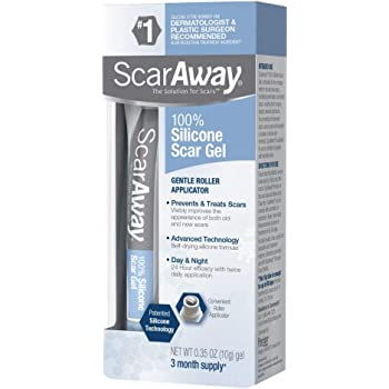 ScarAway 100% Medical-Grade Silicone Scar Gel for Face, Body, Surgical, Burn, Hypertrophic Scars, Keloids and Acne Scar Treatment, 0.35 Ounces (10 Grams)