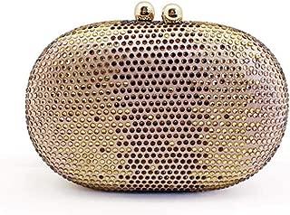 Sturdy European Beauty Handbag Hard Box Oval Mini Light Gold Handbag Hot Drilling Rhinestone Diamond-Encrusted Dinner Lock Handbag 15.7 * 5.9 * 10.6cm. Large Capacity