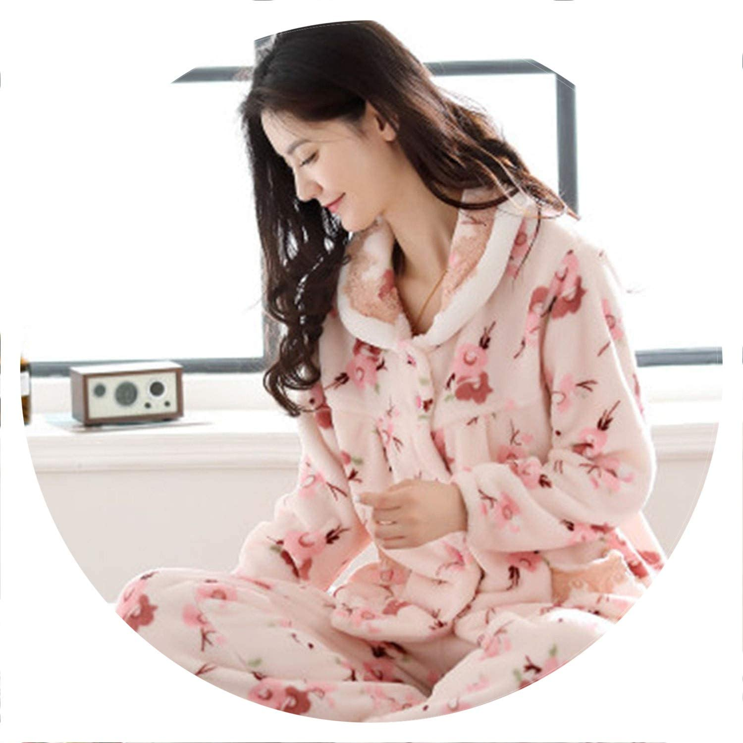 100Expectations Thick Flannel Pajama Winter Flower Print Pajama Set Long Sleeve Full Trousers Two Piece