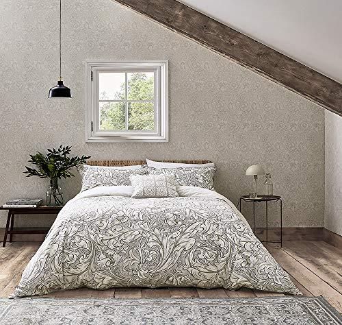 Morris & Co - Funda de edredón y funda de almohada para cama de matrimonio, color beige