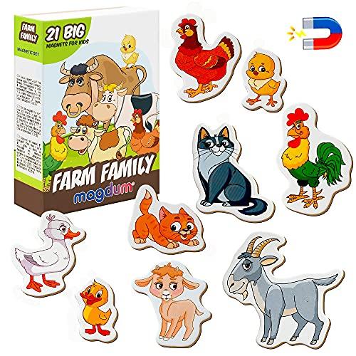 magdum Bauernhof Tiere Set – Tiermagnete für Kinder - Echte Große Kühlschrank Magnete für Kleinkinder – Spiele für 3 Jährige - Spielzeug Tiere - Magnet Set - Magnet Spiele für Kinder