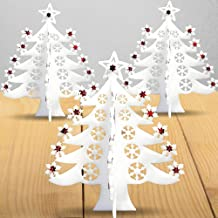 BANBERRY DESIGNS Christmas Tree Foam Decorations - Set of 3 White Glittery Xmas Decor - Holiday Window/Table Decoration