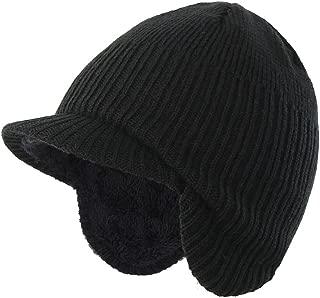 Home Prefer Toddler Boys Winter Hat Fuzzy Knitted Kids Hat w. Visor Earflaps Hat