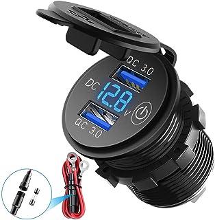 QC3.0 Schnellladegerät für Auto, LED, digitale Spannung und Touch Schalter, Doppelsteckdose wasserdicht, USB, 12 V, geeignet für LKW, Motorrad, 12 V/24 V, Blau