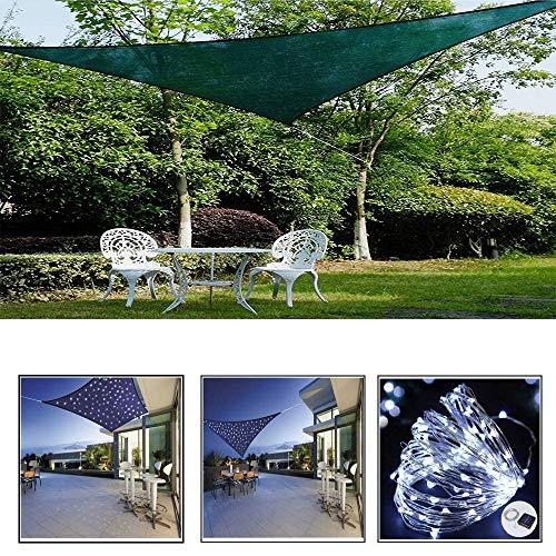 ZHENN Vela De Sombra para Jardín con Luz De Iluminación LED, Verde 95% De Protección UV Solar Triangular Cubierta De Pérgola Sombrilla Transpirable,Verde,2X2X2m