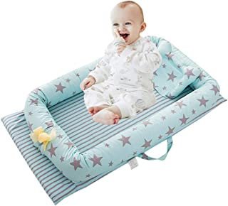 Abreeze Baby Bassinet for Bed -Stars Green Baby Lounger - Breathable & Hypoallergenic Co-Sleeping Baby Bed - 100% Cotton Portable Crib for Bedroom/Travel