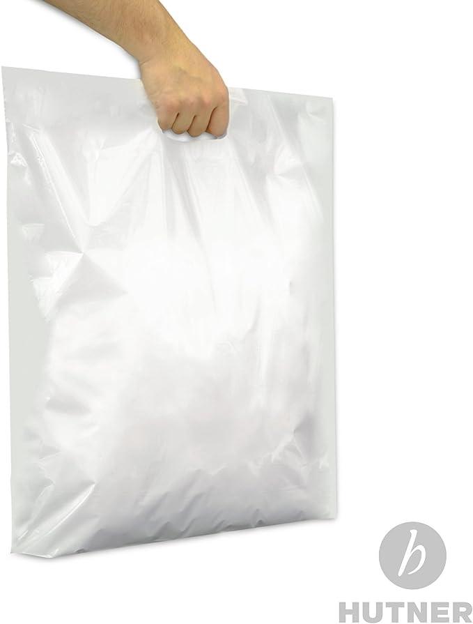 500 Stück DKT Tragetaschen Plastiktasche weiß Griffloch 37x45+2x5cm reißfest