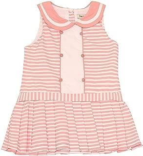 Harry & Violet Baby Girls Pink Stripe Peter Pan Collar Bodysuit Dress 3-24M