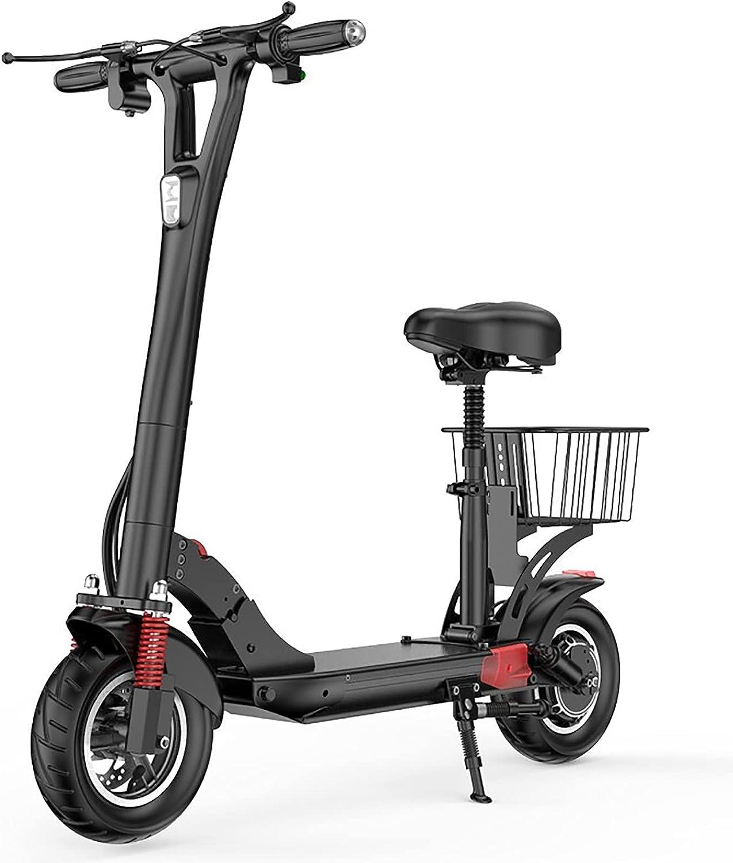 MKKYDFDJ Scooter eléctrico para adultos,E-Scooter de freno doble para viajeros al aire libre,E-Bike plegable portátil con asiento ajustable,Rango de 40-70 km,Motor de 500w