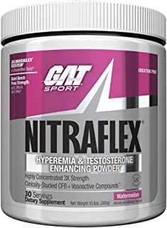 GAT - NITRAFLEX - Testosterone Boosting Powder, Increases Blood Flow, Boosts Strength and Energy, Improves Exercise Performance, Creatine-Free (Watermelon, 30 Servings)